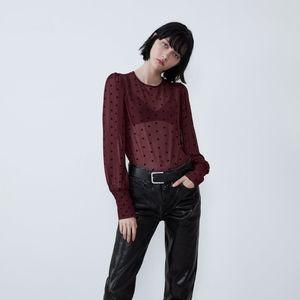Zara red sheer blouse with velvet dots